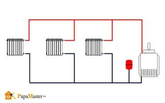двухтрубная схема отопления частного дома