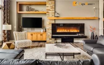 интерьер гостиной с камином отличный вариант для загородного дома