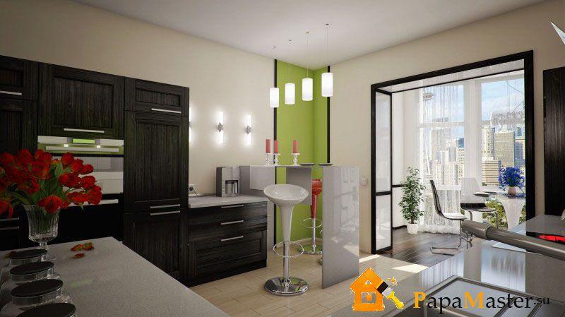 Балкон дизайн фото совмещенный с кухней