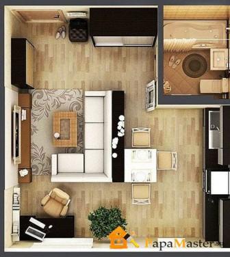 вариант планировки квартиры студии