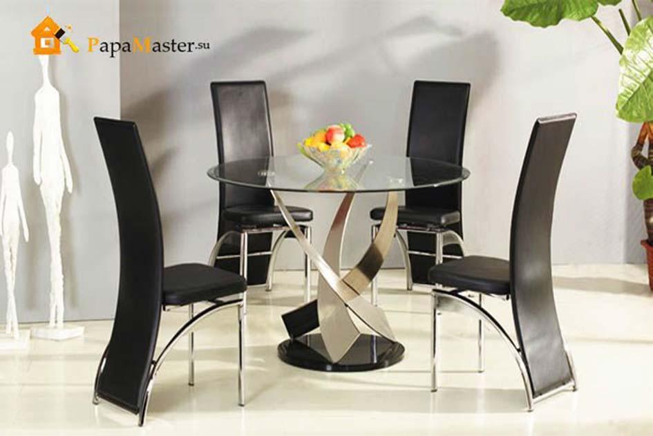 Стеклянный круглый стол на кухню фото: http://fotodizzkom.ru/19537-stekljannyj-kruglyj-stol-na-kuhnju-foto.html