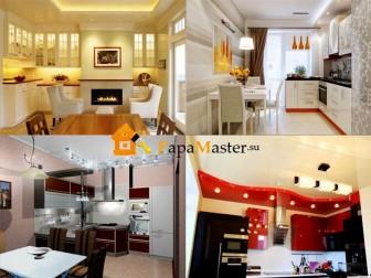 примеры использования потолочных светильников для кухни