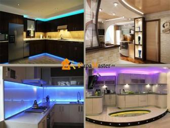 примеры использования светодиодных светильников для кухни