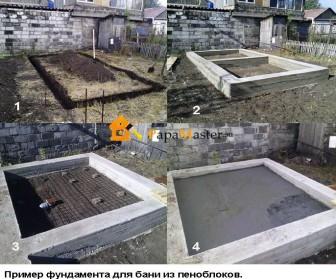 пример фундамента для бани из пеноблоков