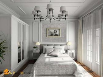 дизайн узкой спальни в классическом стиле