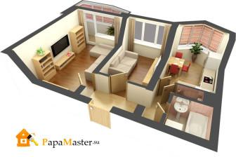 Планировка хрущевки 2 комнаты (современный дизайн)