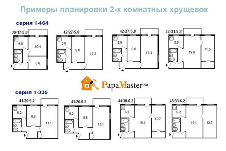 Схема 2 комнатной хрущевки фото 494