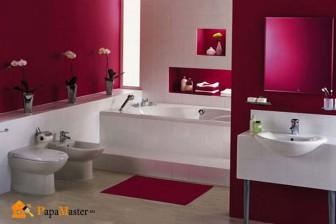 сочетание красного цвета в интерьере ванной
