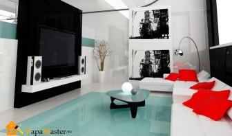 спальня с гостиной в черно-белых цветах