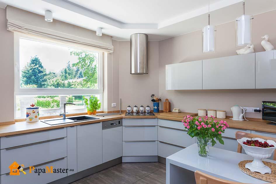 Дизайн интерьера кухни с окном фото