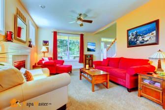 сочетание красного в интерьере гостиной