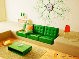 ремонт а гостиной в зеленом цвете