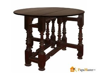 обеденный раздвижной круглый стол из натурального дерева