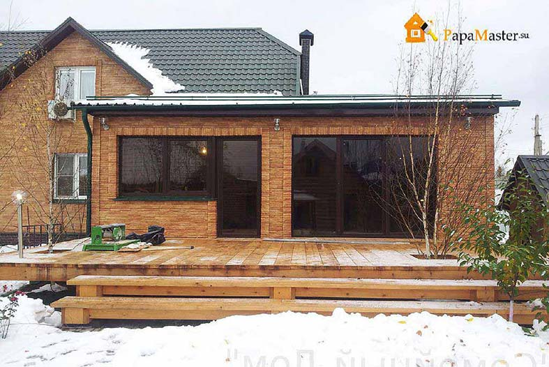 Как пристроить гараж к деревянному дому своими  991