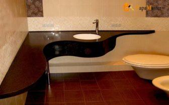 угловая столешница для ванной комнаты