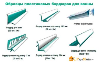 образцы пластиковых бордюров для ванны
