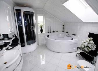 особенности дизайна ванной комнаты с угловой ванной