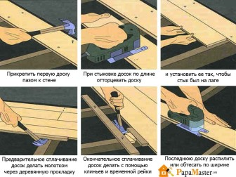 укладка шпунтованной доски пола из лиственницы