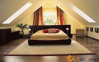 Интерьер мансардного этажа (спальня)