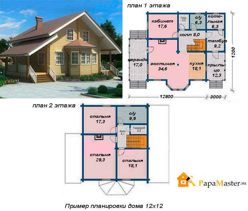 Планировка одноэтажного дома 12 на может быть разработана и дома склоне