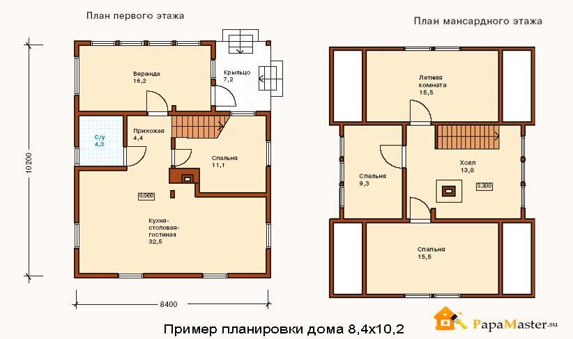 планировка дома 8х10
