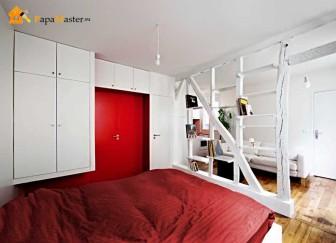 Зонирование гостиной и спальни деревом
