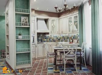 Кухня столовая в частном доме в стиле прованс