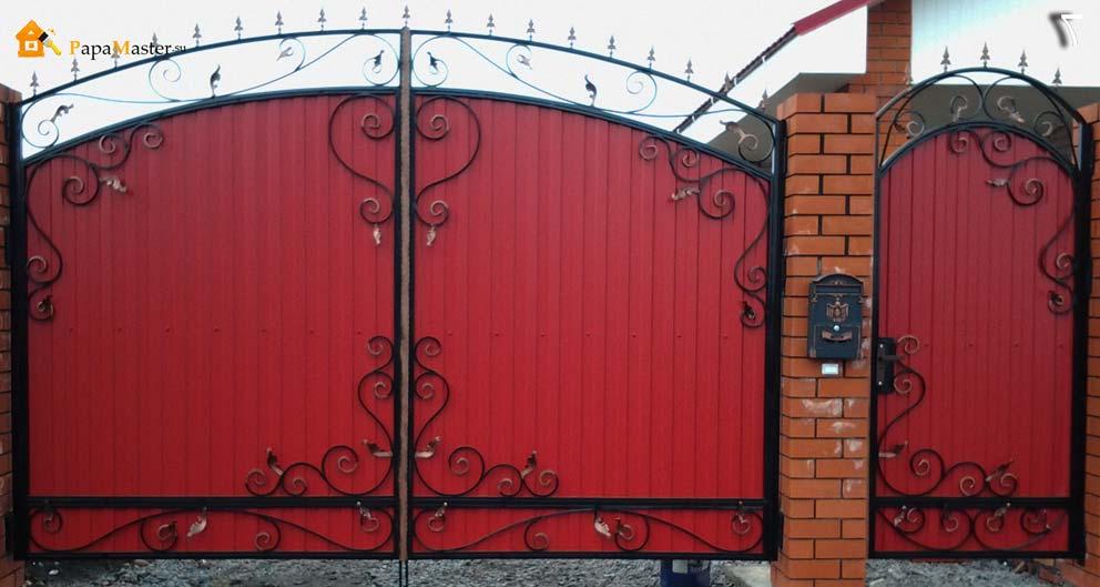 Ворота с калиткой из профиля