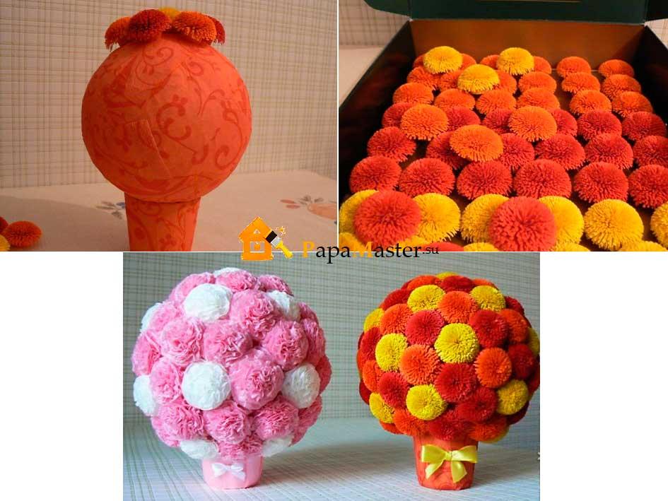 Поделки в виде шара из цветов