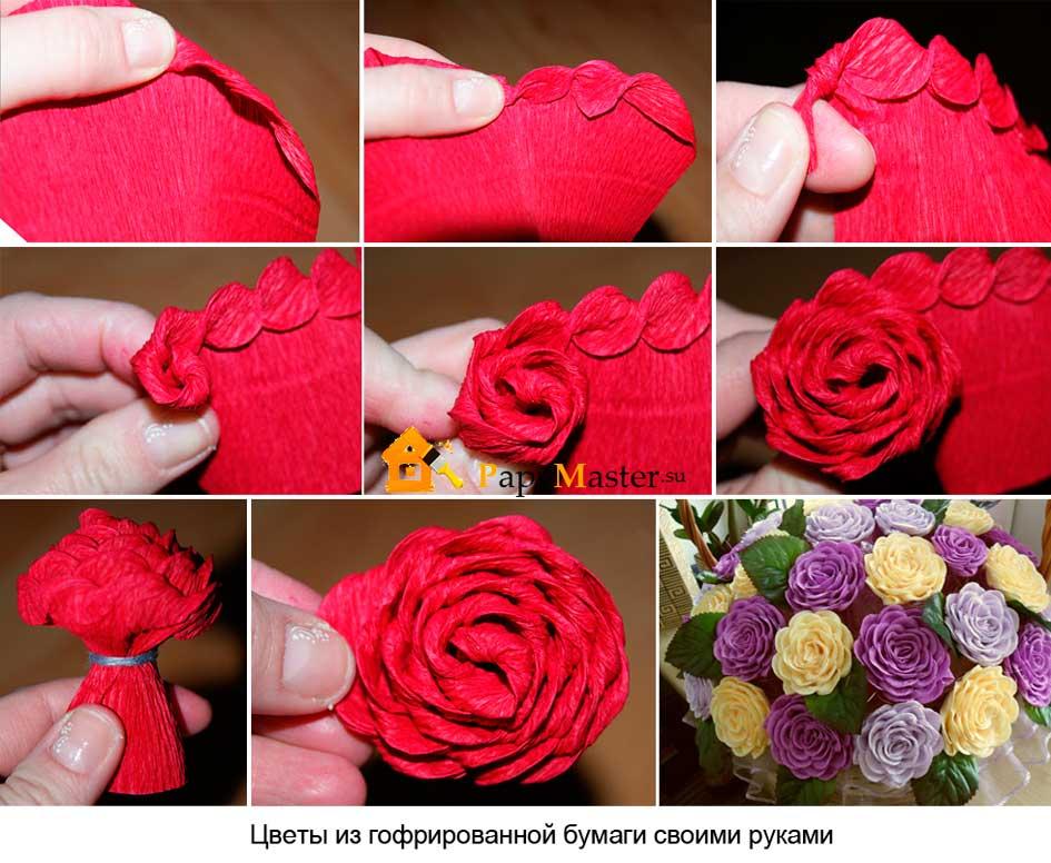 Как сделать пышные цветы из гофрированной бумаги