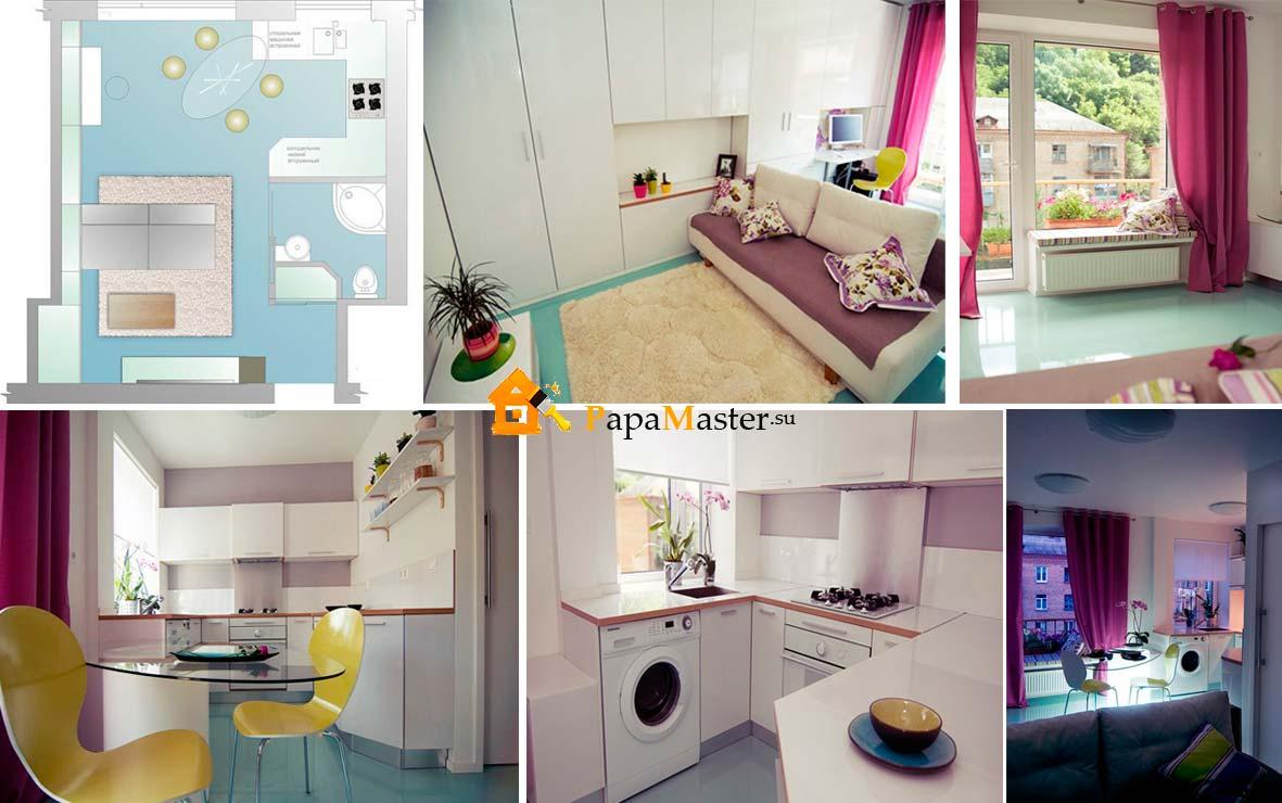 Дизайн маленькой кухни в студии