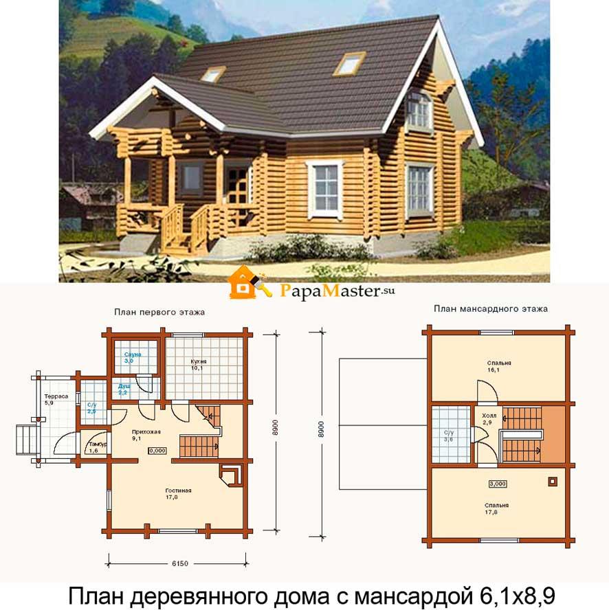 Деревянные Проекты домов с мансардой из пеноблоков бесплатно с фото