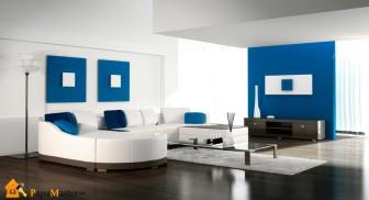 Сочетание голубого и белого в гостиной