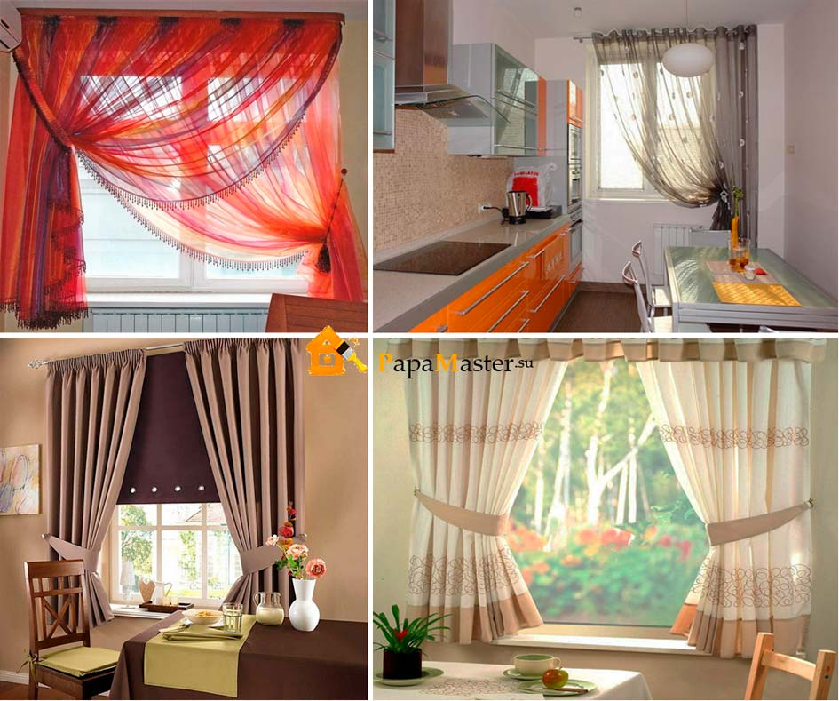 Кухонные занавески и оформление окон кухни фото
