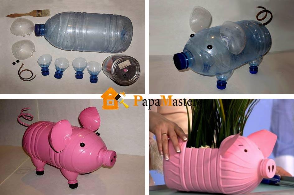 Поросенок пластиковых бутылок пошагово для начинающих
