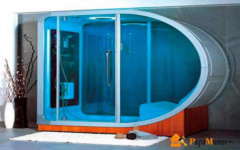 Душевая кабина из поликарбоната в бане