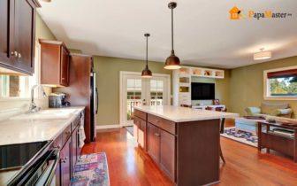 Вариант дизайна совмещения гостиной и кухни
