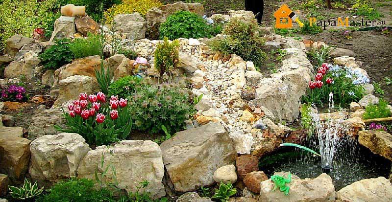 Горка для цветов из камней своими руками