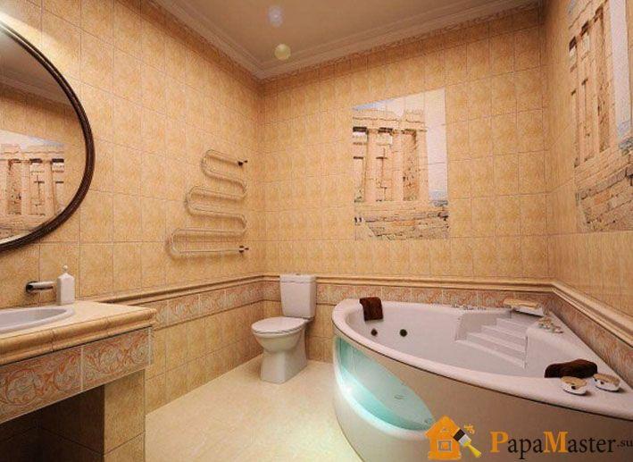 Дизайн угловой ванной комнаты фото