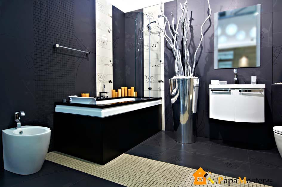 черно-белые ванны фото