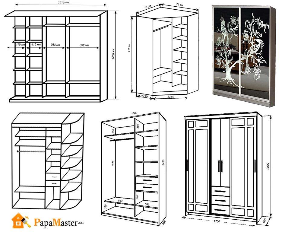 чертежи шкафов своими руками размеры