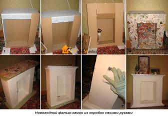 kamin-iz-korobok-svoimi-rukami2-336x235 Фальшкамин своими руками (86 фото): чертеж имитации, пошаговая инструкция монтажа фальш-камина, как сделать декор из картона и пенопласта